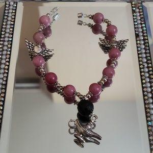 Jewelry - Pink tourmaline and lava stone metaphysic bracelet